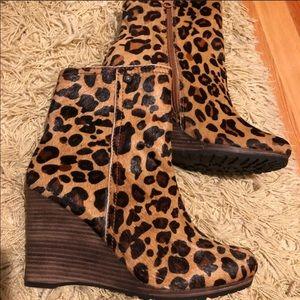 Calvin Klein leopard wedge boots